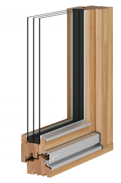 Nahaufnahme mit Schnitt von Holz Fenster actual Osttirol